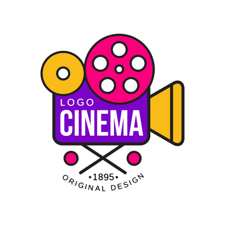 Colorful cinema or movie company logo design with retro camera with reels. Cinematography industry label concept. Flat line style vector icon Stock Illustratie