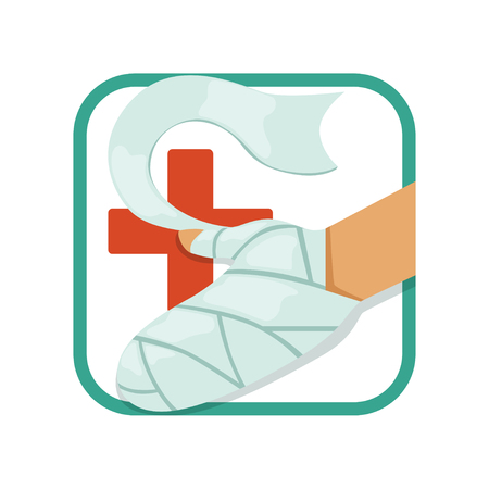 First aid and treatment of burns. Humans hand with injury in bandage. Red cross. Flat vector design for medical brochure, book or poster Ilustrace