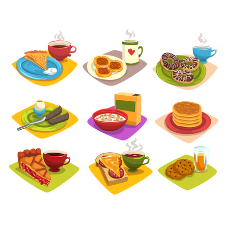 Classic breakfast ideas set. Cartoon illustration with pancakes and coffee, donuts, boiled egg, corn flakes, pie and tea, sandwich, cookies. Flat vector Illustration