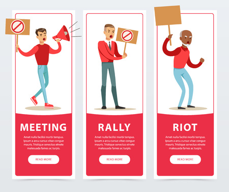 Meeting, rally, riot banners set, angry men holding picket signs and megaphone expressing demands and protesting flat vector elements for website or mobile app with sample text