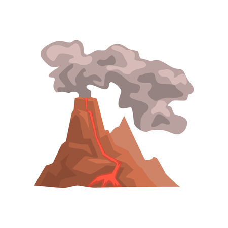 Fired up volcanic mountain with magma and hot lava, volcanic eruption with dust cloud vector Illustration isolated on a white background