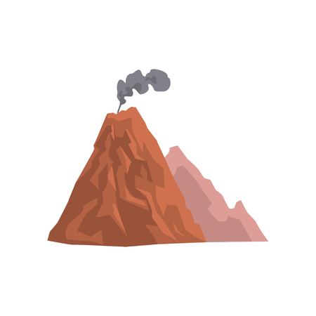 Volcanic mountain with cloud of dust vector Illustration.
