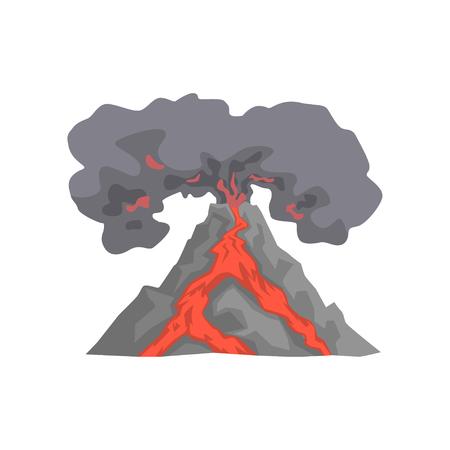 Erupción volcánica, lava que fluye abajo de la montaña, volcán con el vector de la nube del polvo Ilustración aislada en un fondo blanco Foto de archivo - 91195495
