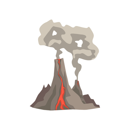 Fired up volcanic mountain with magma, hot lava and dust cloud vector Illustration.