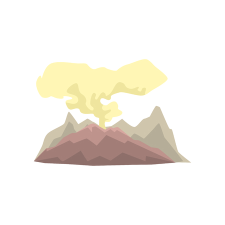 Volcanic mountain with dust cloud vector illustration isolated on a white background
