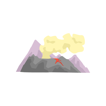 Volcano with magma, lava and smoke vector Illustration.