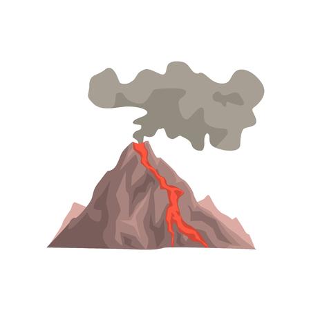 Abgefeuerter Vulkanberg mit Magma, heißer Lava und Staubwolke vector die Illustration, die auf einem weißen Hintergrund lokalisiert wird Standard-Bild - 91197092