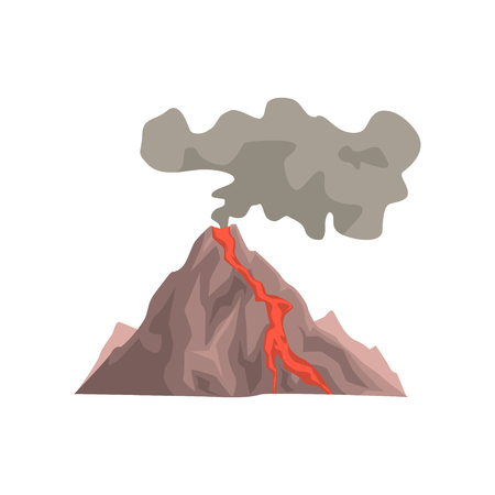 Fired up volcanic mountain with magma, hot lava and dust cloud vector Illustration isolated on a white background