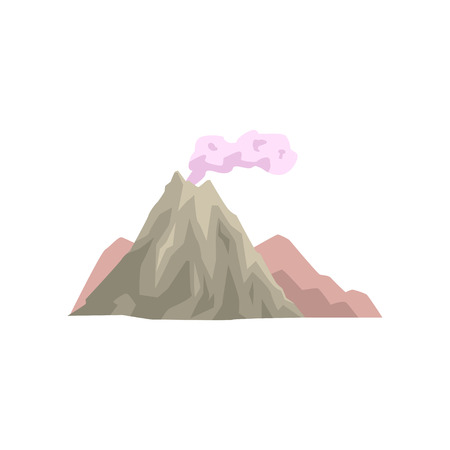 Volcano eruption with dust cloud vector Illustration.