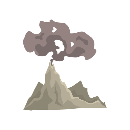 Volcano eruption, awakening dangerous vulcan with dust cloud vector Illustration isolated on a white background Ilustracja