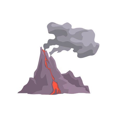 Volcano eruption with hot lava, magma and dust cloud vector Illustration isolated on a white background Ilustração