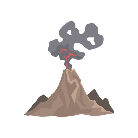 Volcano eruption, awakening dangerous Vulcan vector Illustration.