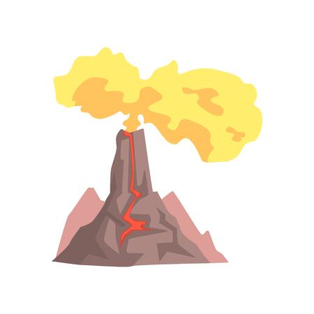 용암와 화산, 뜨거운 마그마와 화산 폭발, 먼지 구름과 화산 분화 흰색 배경에 고립 된 벡터 일러스트 레이 션 일러스트
