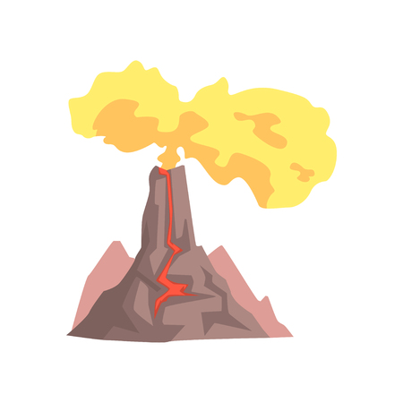 Volcano with lava, mountain rock volcanic with hot magma, volcanic eruption with dust cloud vector Illustration isolated on a white background Stok Fotoğraf - 91199352