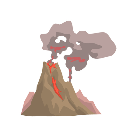 Awakening dangerous vulcan, volcanic eruption with dust cloud vector Illustration isolated on a white background