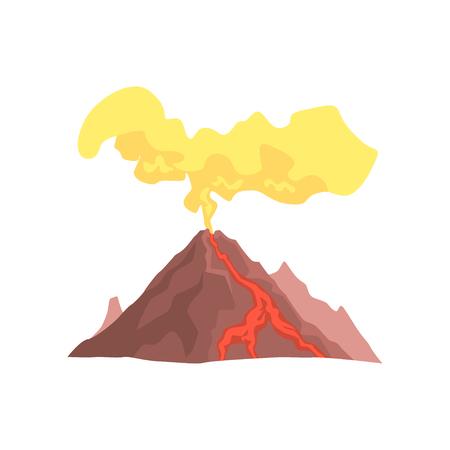마그마, 뜨거운 용암와 먼지 구름이 화산 산 벡터 일러스트 레이 션 흰색 배경에 고립 일러스트