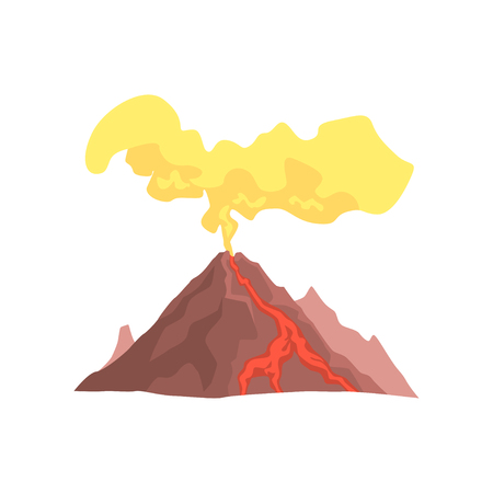 Volcanic mountain with magma, hot lava and dust cloud vector Illustration isolated on a white background