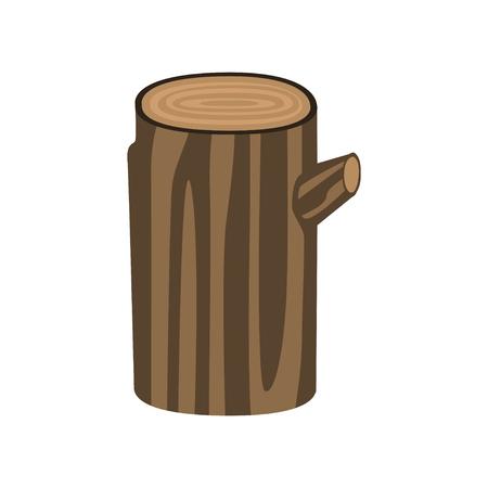 白い背景に隔離された茶色の木の幹。フラットスタイルのベクトルイラストレーション  イラスト・ベクター素材