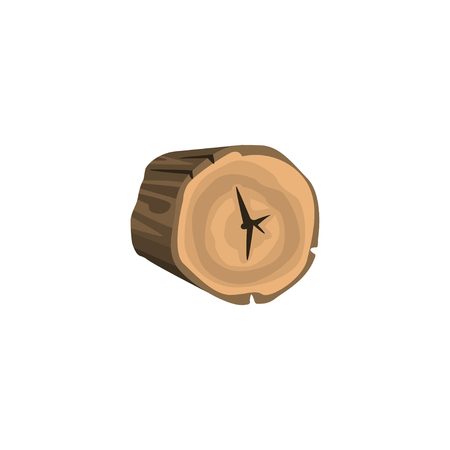 Rounded piece of wood annual growth rings isolated on white background. Wooden things production. Organic material, natural texture. Detailed cartoon element. Vector illustration in flat style. Ilustracja