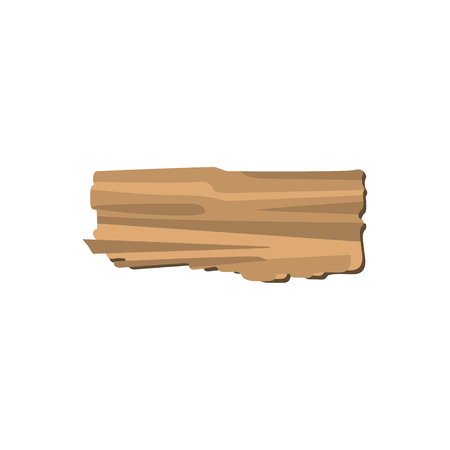 Brown pieces of broken plank isolated on white background. Vector illustration of detailed cartoon element in flat style.