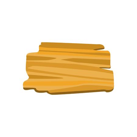 배너 또는 메시지에 대 한 오래 된 목조 보드 흰색 배경에 고립. 나무 물건 생산. 유기 재료, 자연 질감입니다. 플랫 스타일에서 자세한 만화 요소의 벡