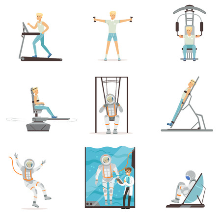 Astronaut preparing for space flight in different situations. Working out, vestibular testing. Cartoon cosmonaut character in training center. Flat vector illustration isolated on white background.
