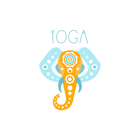 Colorful creative yoga elephant logo. Abstract wild animal shape. Template for yoga studio or meditation class, spa logo design element, healthcare. Vector illustration isolated on white, flat style