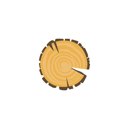 Cross section trees annual growth rings isolated on white background. Wooden things manufacturing. Organic material, natural texture. Vector illustration of detailed cartoon element in flat style. Ilustração