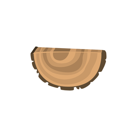 Piece of felled tree with annual growth rings isolated on white background. Wooden things production. Organic material, natural texture. Vector illustration of detailed cartoon element in flat style. 向量圖像