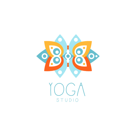 Creative floral ornament yoga logo. Abstract blue and orange shape. Template for yoga studio or meditation class, spa logo design element, healthcare. Vector illustration isolated on white, flat style.