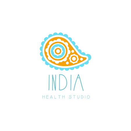 Creative yoga floral paisley logo. Abstract traditional Indian shape. Template for yoga studio, meditation class, spa logo design element, healthcare. Vector illustration isolated on white, flat style.