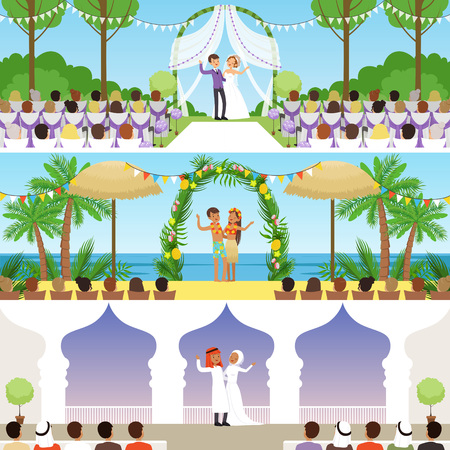 Different wedding ceremonies set, traditional, exotic tropical beach and muslim weddings vector Illustrations. Illustration