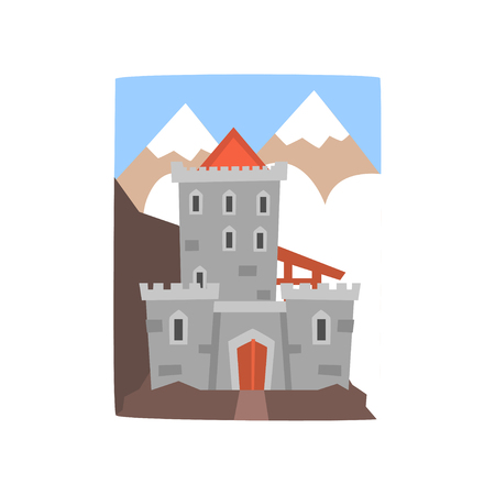 Old medieval castle with mountains landscape. Fortress with wooden gate, arched windows and defensive round turrets. Cartoon vector illustration in flat design for a story book, mobile game or postcard.