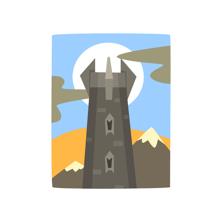 Medieval fantasy castle in mountains landscape. Tower of dark kingdom. Full moon behind fortress. Vector illustration in flat style. Cartoon design for story book, web, mobile game or poster.