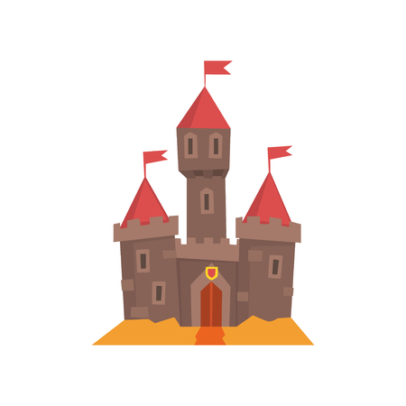 Medieval castle with flanking towers, wooden gate and flags on conical roof. Fairy tale building. Historical architecture. Isolated flat vector design for book cover, postcard or mobile application.