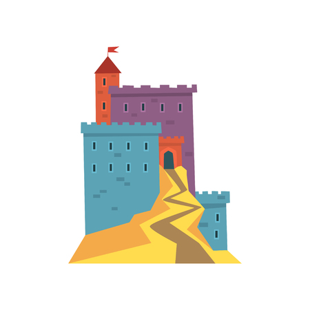 Colorful ancient fortress in flat style. Red heraldic flag on tower. Cartoon castle architecture. Historical building. Vector illustration isolated on white. Design for landmark icon or mobile app. Illustration