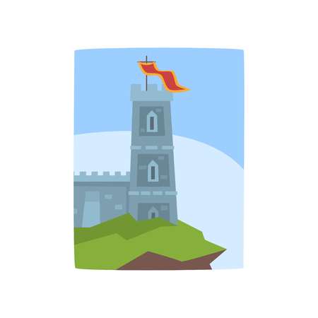 Fantasy castle on edge of cliff. Medieval castle icon. Historical architecture. Landscape with fairytale kingdom. Flat vector design for invitation card, book cover or placard.