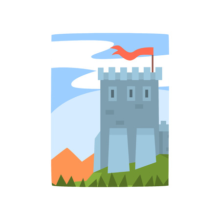 Cartoon landscape with magnificent castle, mountains and forest. Medieval fortress on green hill, blue sky behind it. Flat vector for poster, web or mobile app