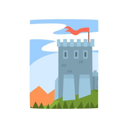Cartoon landschap met prachtige kasteel, bergen en bossen. Middeleeuws fort op groene heuvel, blauwe lucht erachter. Platte vector voor poster, web of mobiele app Stock Illustratie
