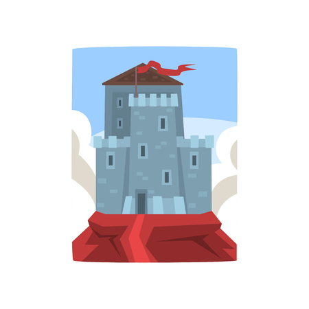 Big medieval castle on top of mountain on blue sky and white clouds background. Fortress with defensive towers and fluttering red flag. Flat vector