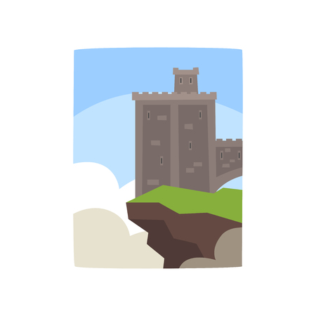 Cartoon gray castle with a little turret on edge of cliff. Flat vector for kids storybook or mobile app