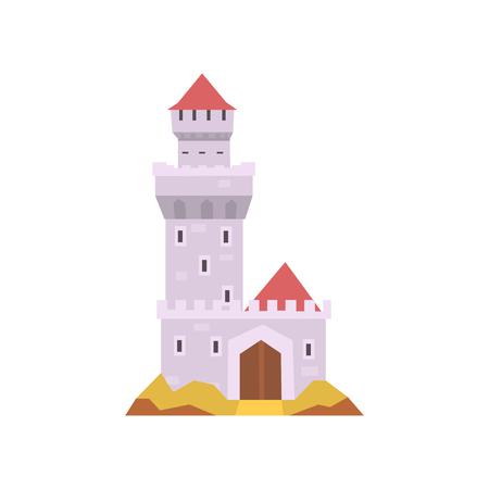 白に隔離されたおとぎ話の城。タワー、木製の門、赤いコーンの屋根を持つ石のフォート。中世の建物招待カードまたはモバイルアプリのためのフ