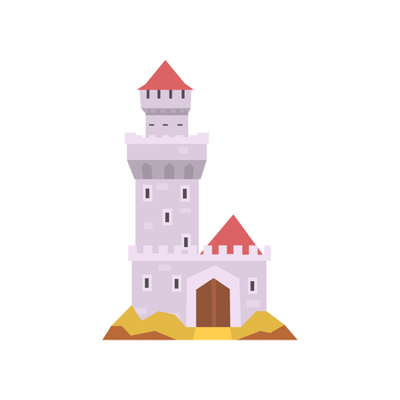 Fairy-tale castle isolated on white. Stone fort with tower, wooden gate and red cone roof. Medieval building. Flat vector design for invitation card or mobile app