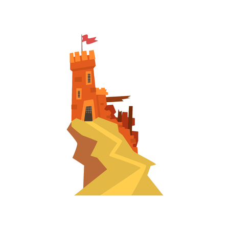 Old orange fortress with destroyed wall on top of hill. Castle with iron grating on entrance and windows. Fluttering red flag on tower. Flat vector design for kids fairytales Illustration