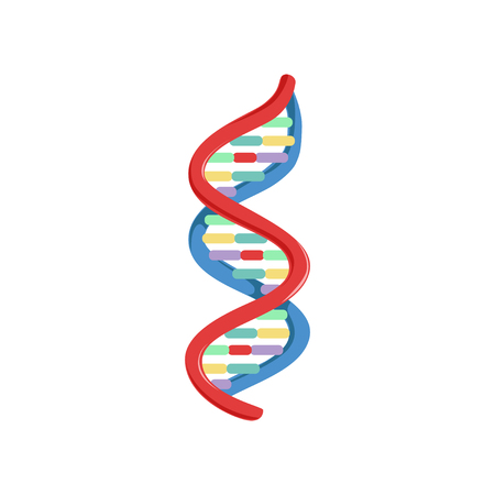 Spiral DNA. Genetic material. Micro and molecular biology. Colorful science icon in flat style. Vector illustration isolated on white background. Design element for logo, infographic, poster, brochure