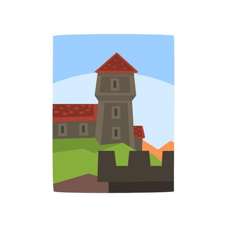 Summer landscape with fairytale kingdom. Cartoon medieval castle, blue sky behind it. Ancient architecture building. Flat vector design for children s book illustration, mobile app or invitation card.