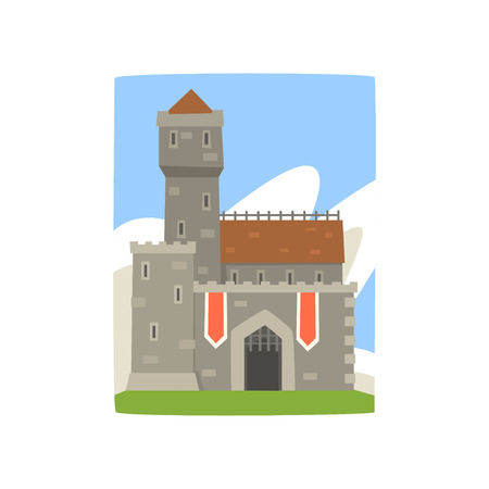 Great royal fortress with tower, red heraldic flags and iron grating on entrance. Colorful landscape with medieval castle, clouds behind it. Flat vector design for postcard, game or children s book.