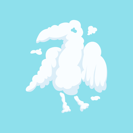 Cloud in bizarre shape of eagle isolated on blue background. Silhouette of predatory bird. Funny cartoon animal. Vector illustration in flat style. Design for kids story book, label, print or postcard