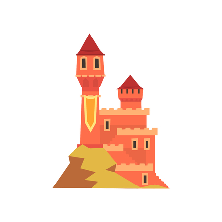 Colorful royal castle with towers standing on hill. Icon of medieval fort in flat style. Isolated vector design. Old architecture. Graphic element for children s story book, postcard or mobile game. Illustration