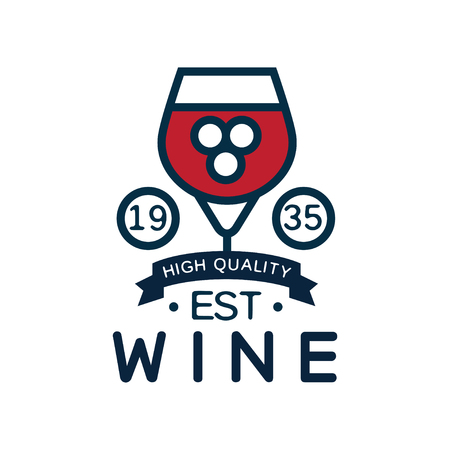 Wine label est 1935, high-quality product logo, design element for menu, winery logo package, winery branding and identity vector Illustration